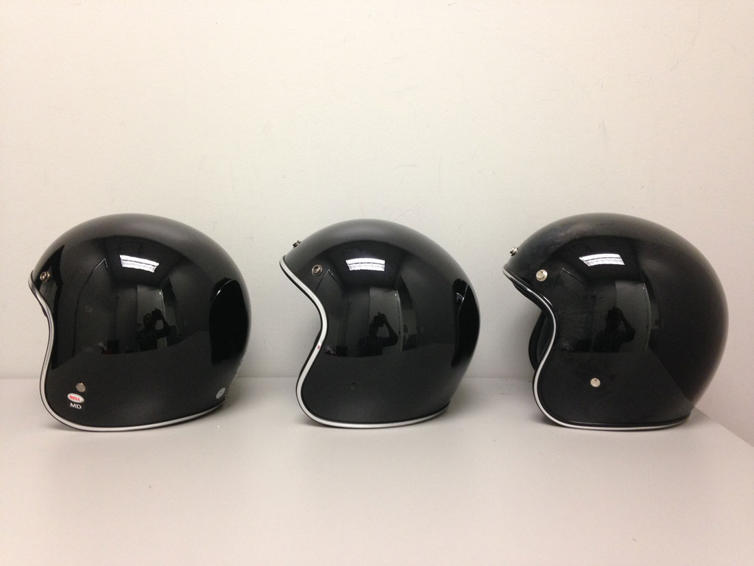 Bell custom 500 gloss black vintage low profile helmet chopper harley - From Left To Right Bell Custom 500 Afx Fx 76 Biltwell Bonanza