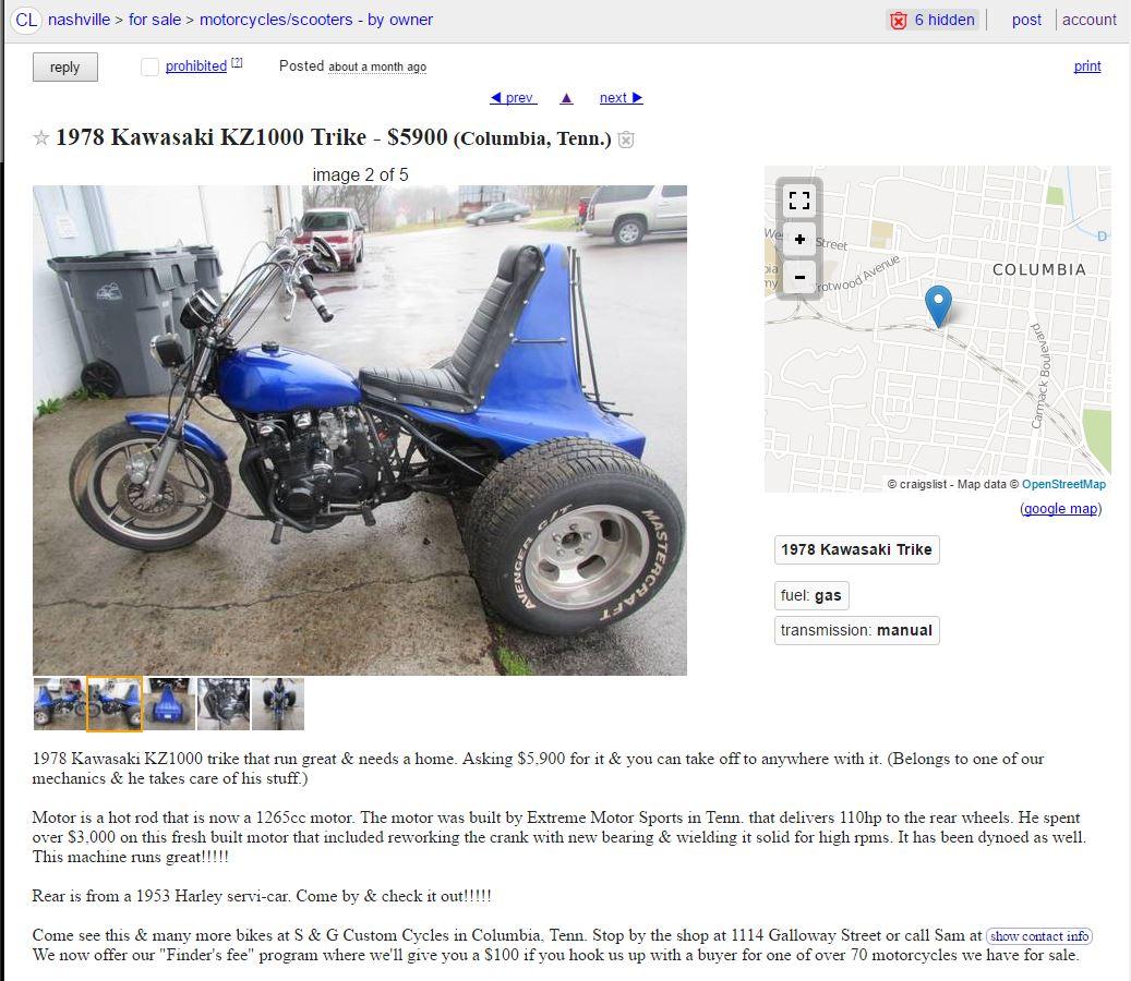 Craigslist KZ's - Chin on the Tank – Motorcycle stuff in Philadelphia