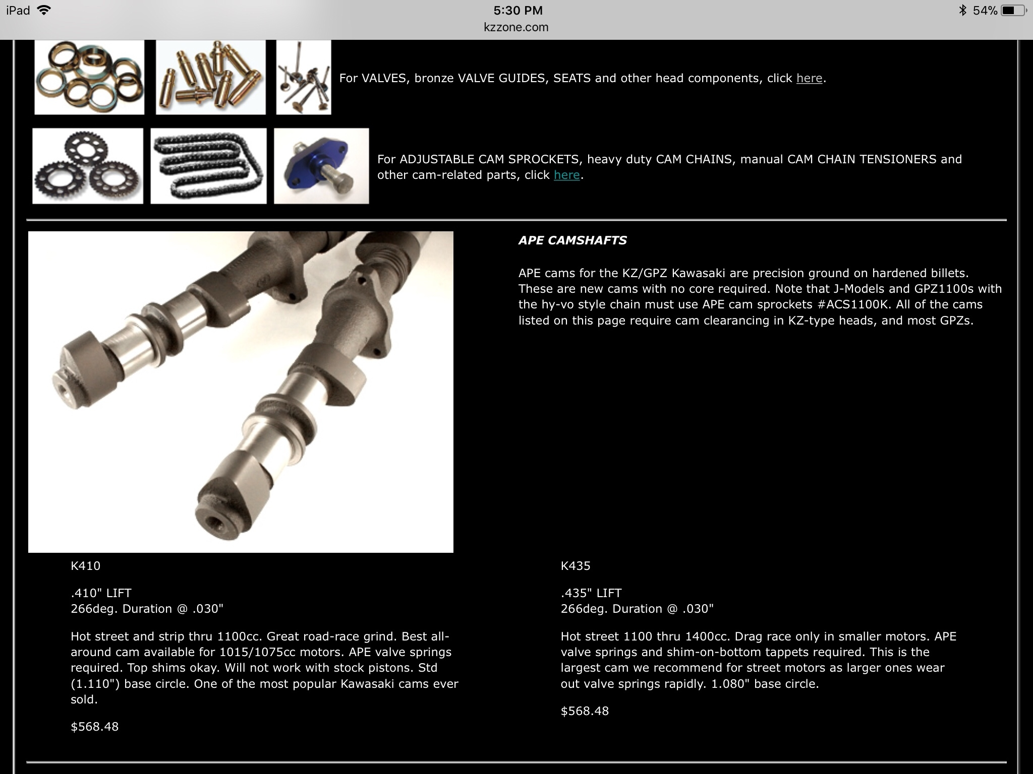 KZ camshaft info - Chin on the Tank – Motorcycle stuff in