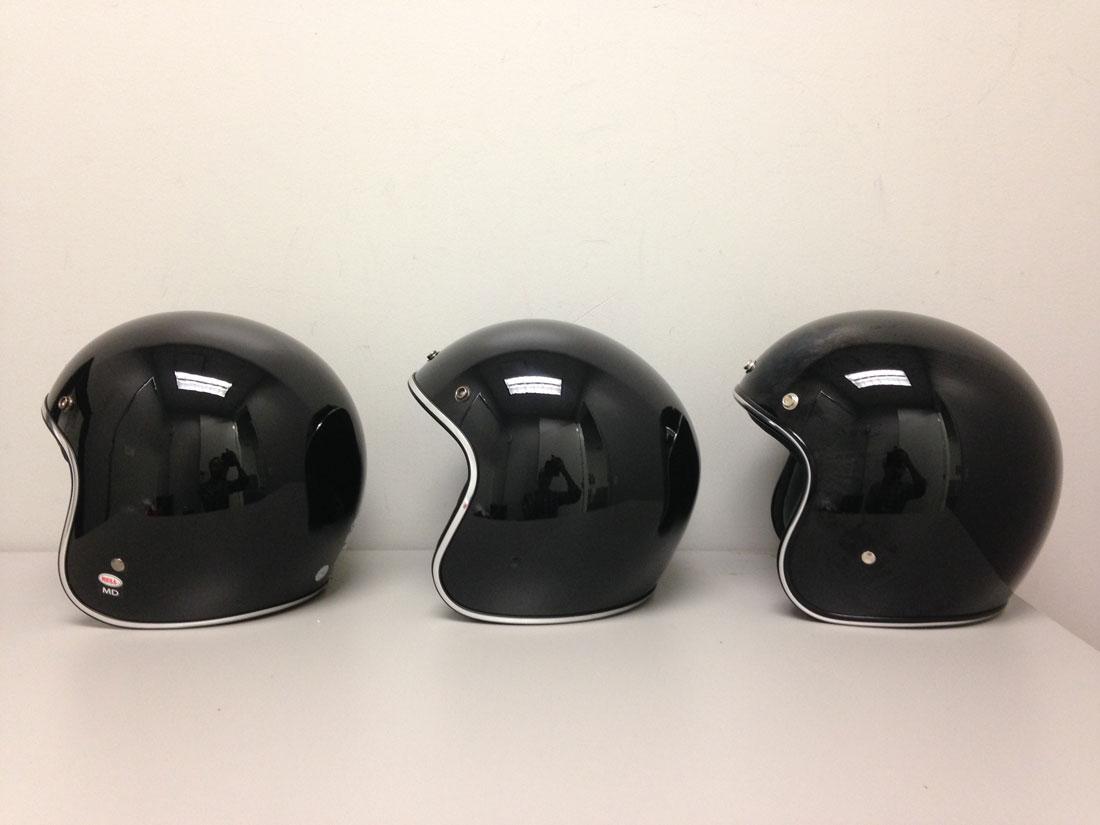From left to right: Bell Custom 500, AFX FX-76, Biltwell Bonanza